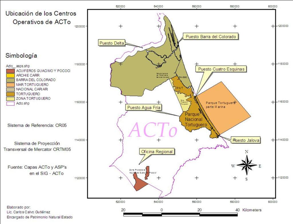 Mapa con la ubicación de las dependencias del Área de Conservación Tortuguero.